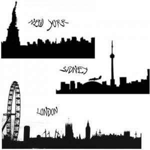 100408towns. 300x300 Кисть для фотошопа   Силуэты городов, Лондон, Москва, Нью Йорк