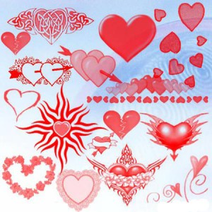 Hearts 300x300 Кисть для фотошопа   Сердца.