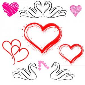 Lebedy  hearts 300x300 Кисть для фотошопа   Лебеди и Сердца.