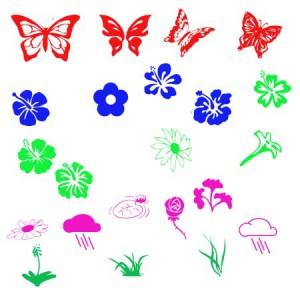 brushes5269 300x300 Кисть для фотошопа   Цветы, бабочки и тучки